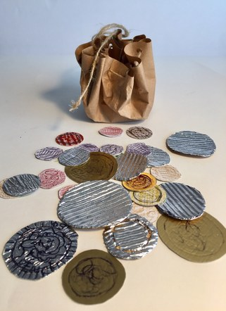 Inspired by The Viking exhibition..make your own paper pouch and Viking coins.