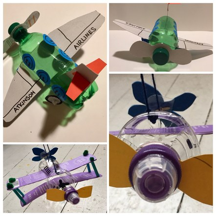 Making aeroplanes from old plastic bottles ref. Meccano plane in the museum