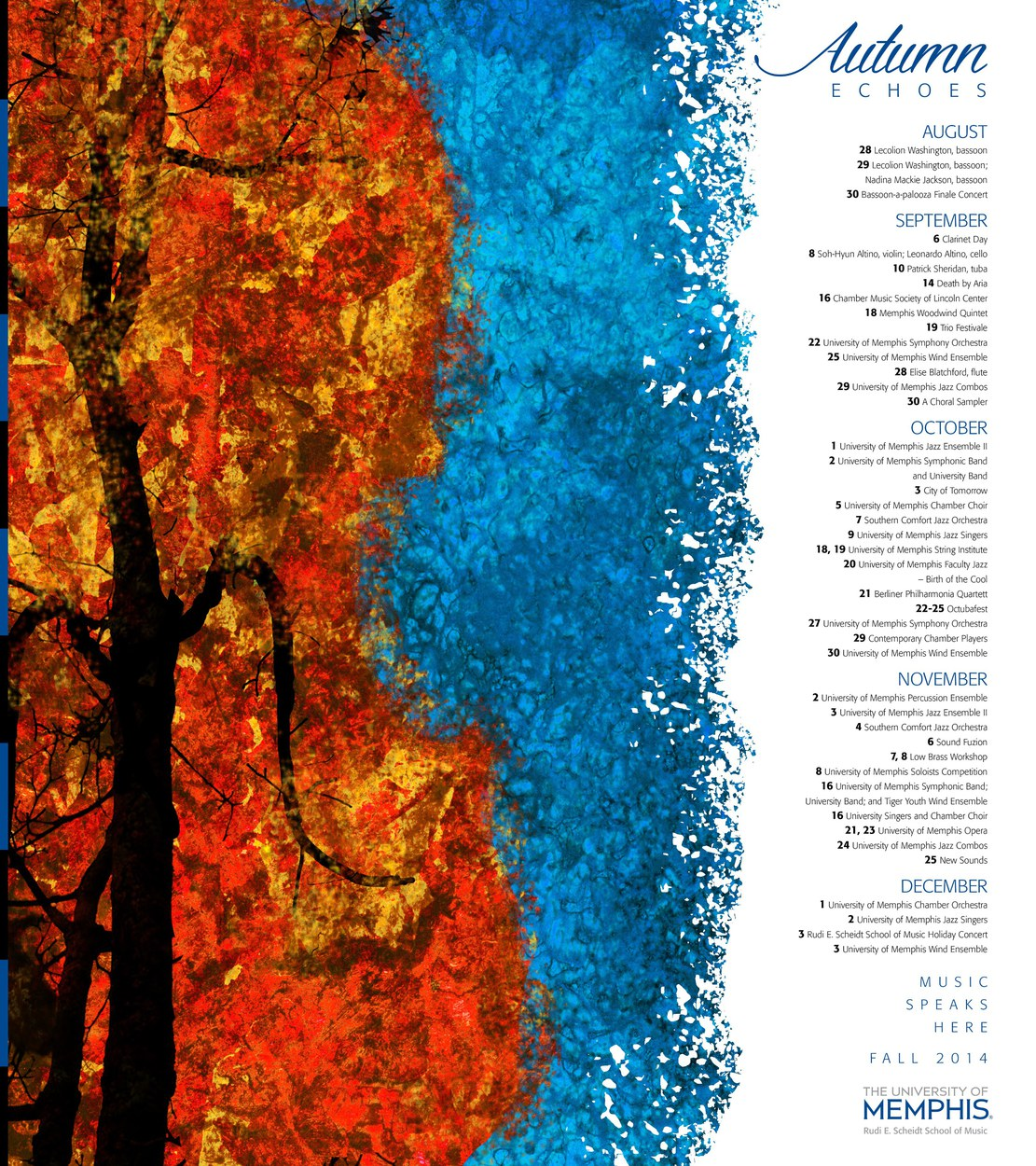 Fall music program poster; original illustration