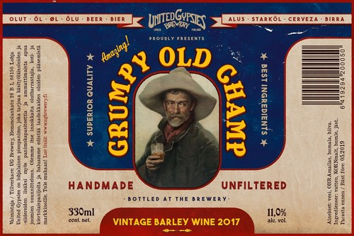 Grumpy Old Champ beer label
