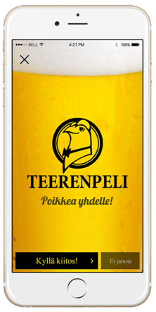 Beer advertisement for Yossa mobile app