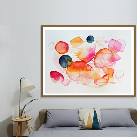 """Orange Pink Black"" Framed Above a Bed"