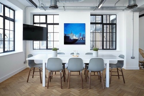 """Old Port Montreal"" in a meeting room"