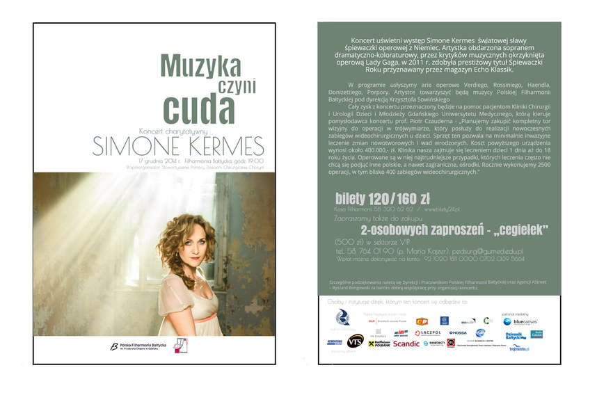 Flyer for the Baltic Philharmonic,designed for a Simone Kermes's charity concert.