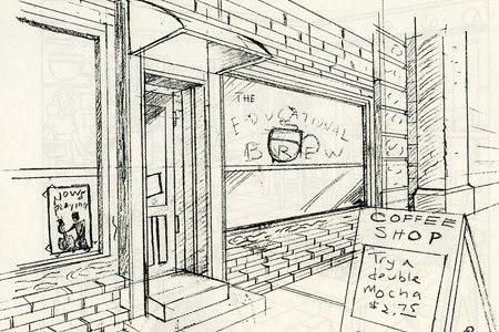 Digital Cafe Concept Sketches