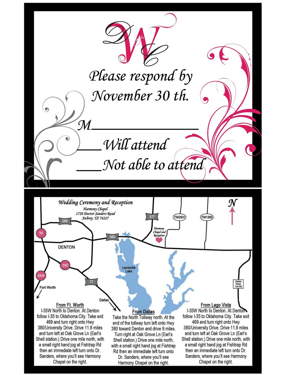 RSVP Card and Map