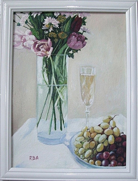Still life with Champagne and fading flowers
