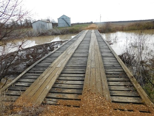 Old wooden slated bridge