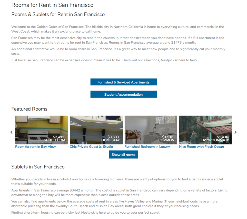City landing page for San Francisco