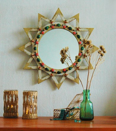 White Beaded Mirror