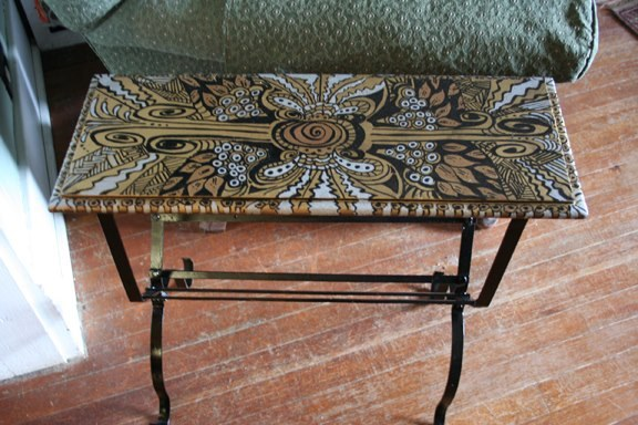 Zentangled side table