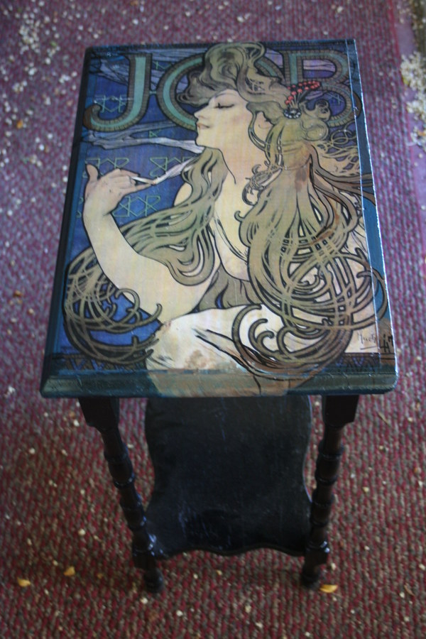 Mucha decoupaged side table
