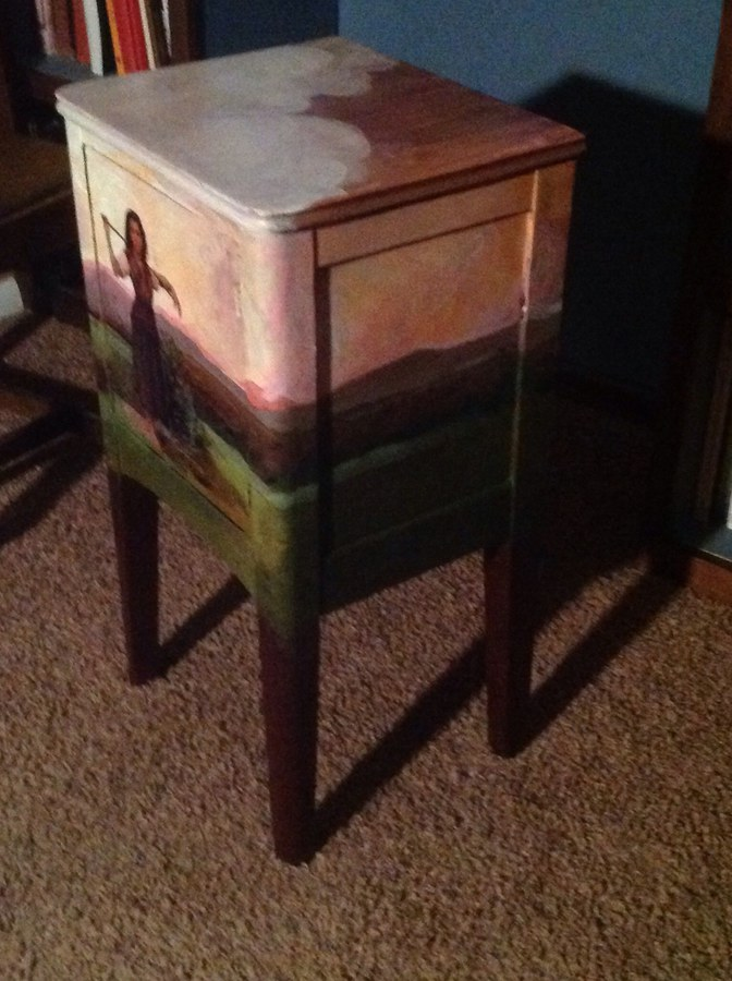 Shepardess bedside table- cloudscape on top by Lori Holdread, side lanscapes, too.