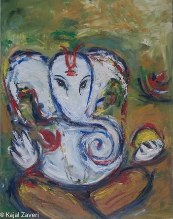 Ganesh painting-Original Zen Art-Free Shipping