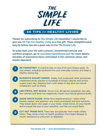 The Simple Life 50 Tips for Healthy Living | Website Handout P. 2