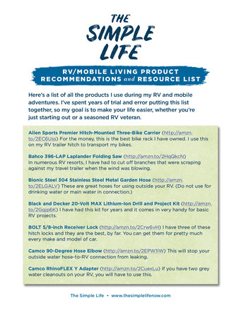 The Simple Life Mobile Living Product List | Website Handout P. 2