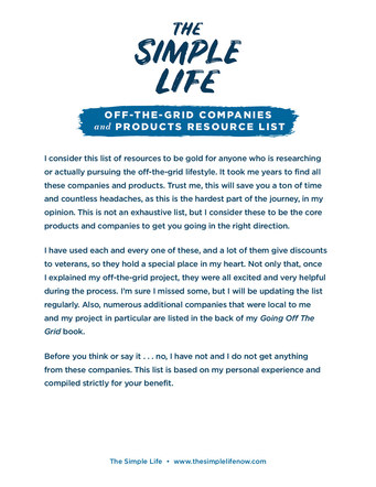 The Simple Life Off-Grid Resource List   Website Handout P. 2