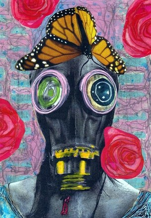 Love Pollution - Mixed Media Collage (on board) - 2014