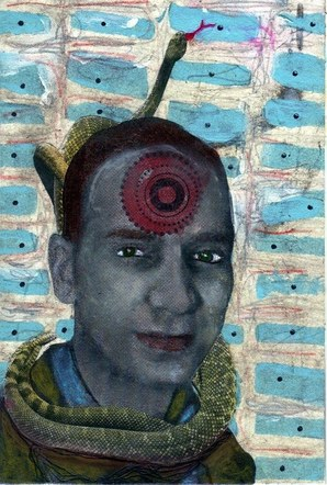 My Father, the Snake - Mixed Media Collage (on paper) - 2012