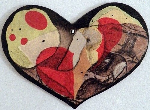 Besotted Heart: Abstraction 4 - Mixed Media Collage (heart-shaped board) - 2018