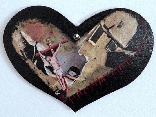 Crucifixion Heart - Mixed Media (on heart-shaped board) - 2018