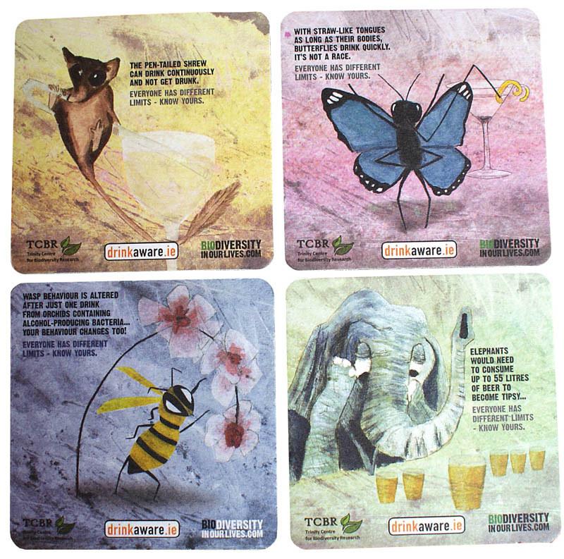 Biodiversity beermats - gouache painting