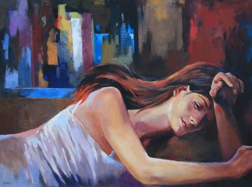 "Joro Petkov, Oil on canvas, Portrait, ""Dreaming"", # 6"