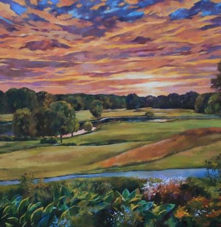 "Joro Petkov, Oil on canvas, Landscape, ""Sunset"", # 1"