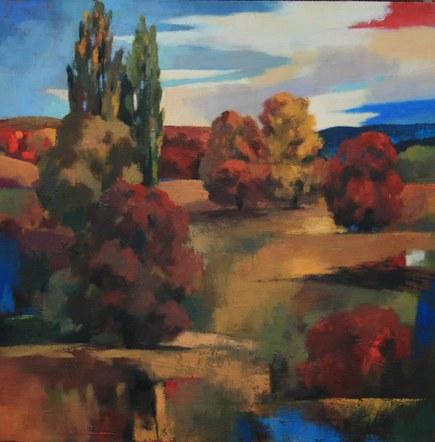 "Joro Petkov, Oil on canvas, Landscape, ""Waiting"" # 10"