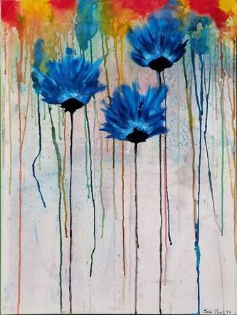 Rainbow Poppies Blue