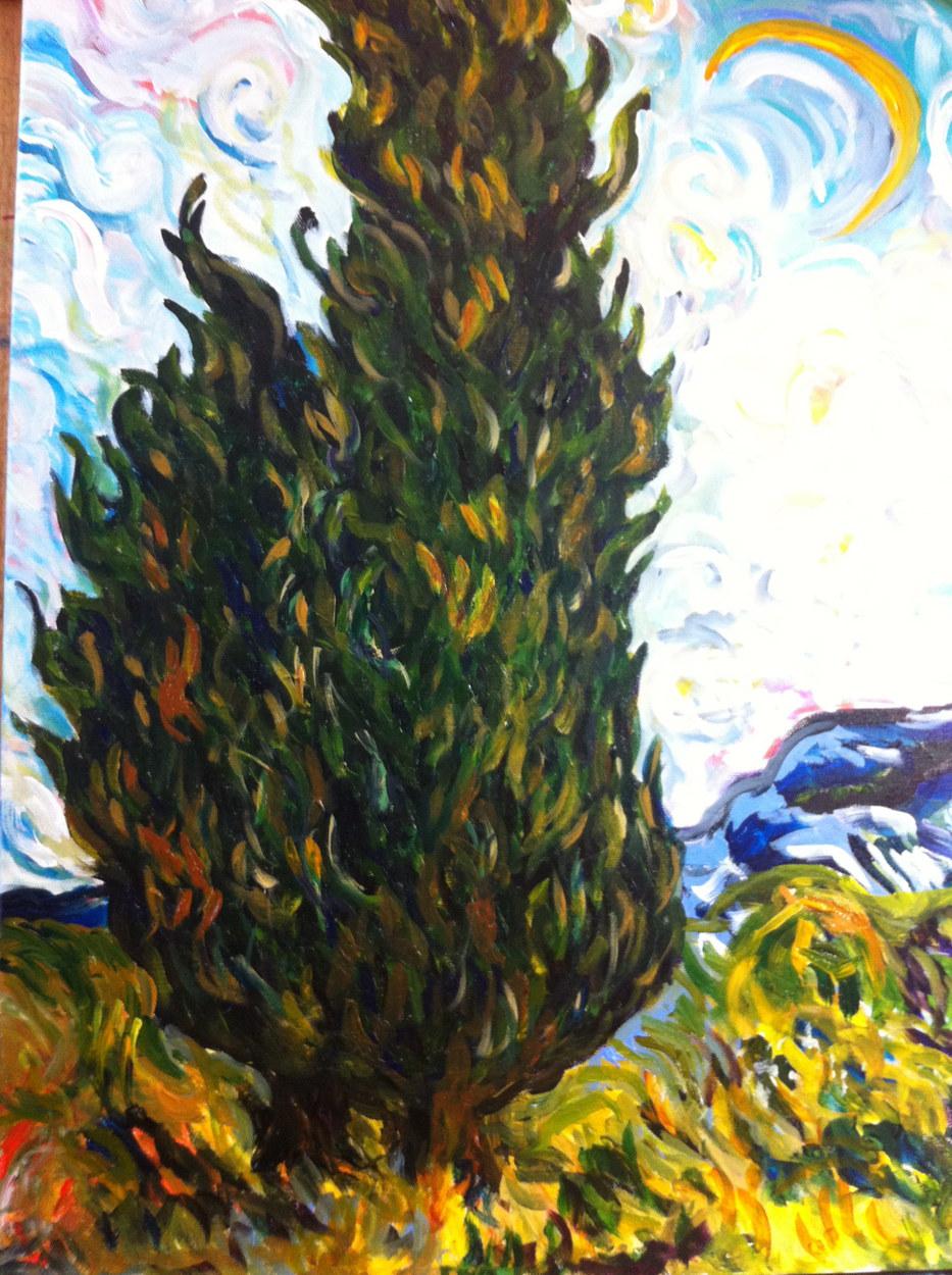Cypress Trees (after Van Gogh)